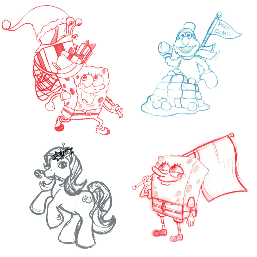 SpongeBob Elmo My Little Pony Ornament sketches